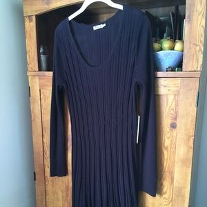 Navy Knit Fit and Flare Dress Size XL NWT